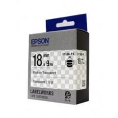 [EPSON] ST18K-PX 라벨테이프 바탕(투명)/글씨(검정) 18mm