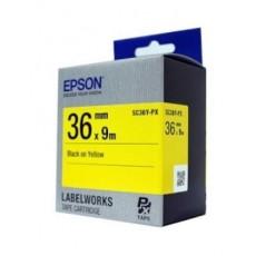 [EPSON] SC36Y-PX 라벨테이프 바탕(노랑)/글씨(검정) 36mm